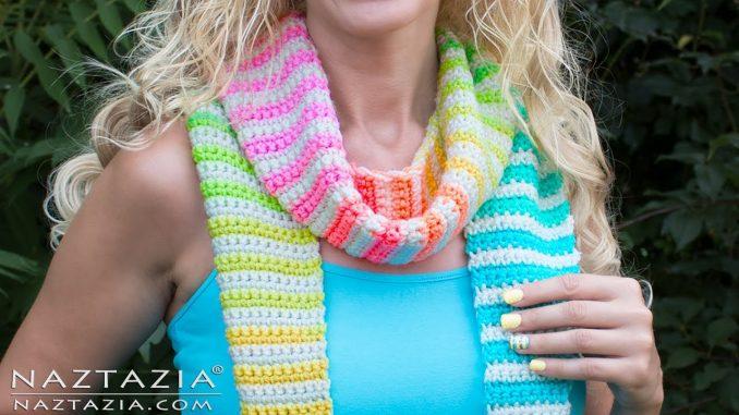 Crochet Alternate Stripes Scarf
