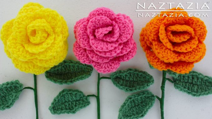 Crochet Easy Rose Flower for Beginners with Leaves and Stem