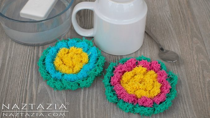 Crochet Blossom Scrubby and Scrubbies Made with Scrubbie Yarn