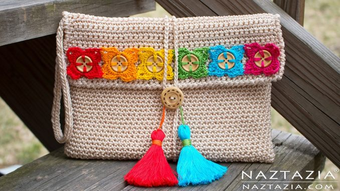 Crochet Bohemian Clutch Purse with Buttons and Tassels