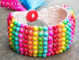 Tunisian Crochet Boho Bead Bracelet Jewelry