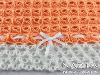 Crochet Broomstick Lace Baby Blanket with Solomon Knot Border Edging