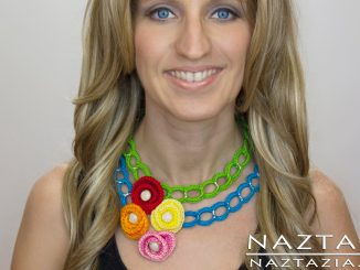 Crochet Chain and Flower Necklace Jewelry