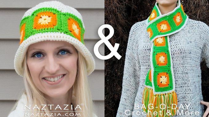 Crochet Citrus Splash Hat with Granny Squares