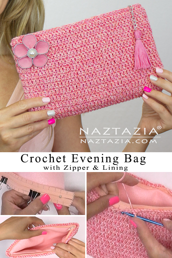 Crochet Evening Handbag with Zipper and Lining