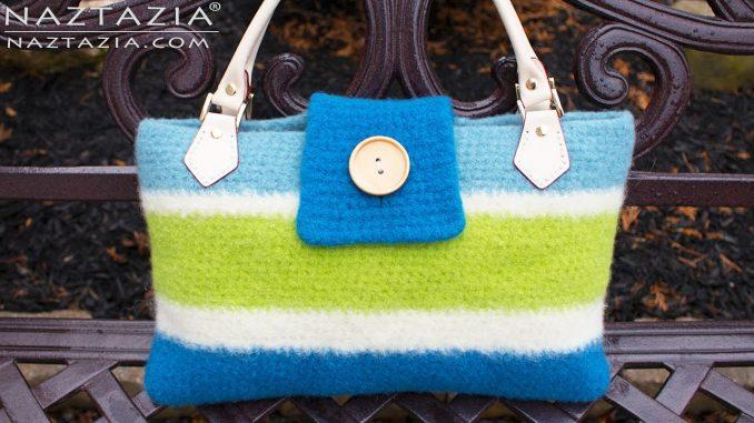 Crochet Felted Handbag using the Fulling Process