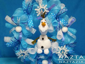 Frozen Inspired Wreath Made with Deco Mesh and Olaf Ty Beanie Babies