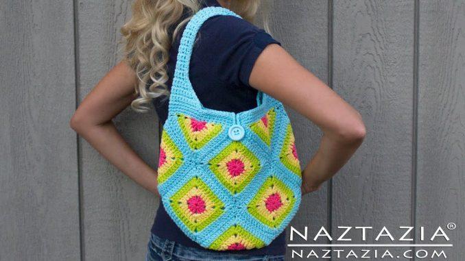 Crochet Granny Square Tote Bag Purse