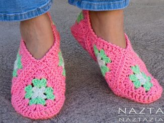 Crochet Granny Square Slippers and Soft Shoes for Feet