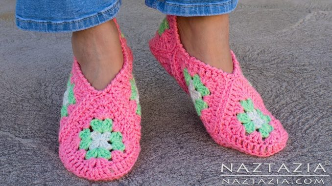 61d2dc5e5f33 Crochet Granny Square Slippers and Soft Shoes for Feet