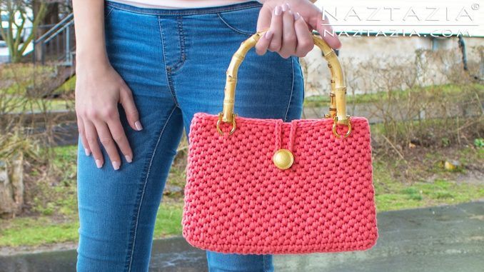 Crochet Jersey Purse Handbag Made with T-shirt Yarn
