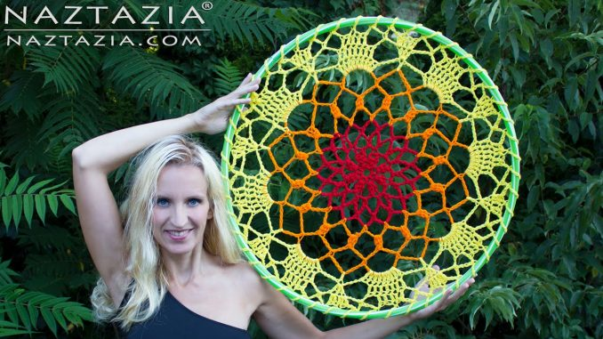 Crochet Mandala Dreamcatcher with Yarn and a Hula Hoop