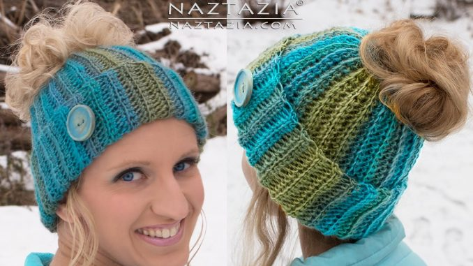 104d2e1b0a52 Crochet Messy Bun Hat with Hole on Top for Ponytail or Bun