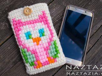 Crochet Owl Cell Phone Case and Cross Stitch on Tunisian Crochet