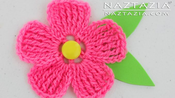 Crochet Five Petal Flower for Use on Hats Scarves and Bags