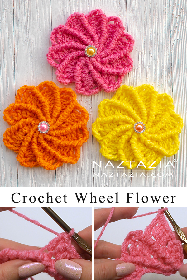 Crochet Wheel Flower with Spinning Petals