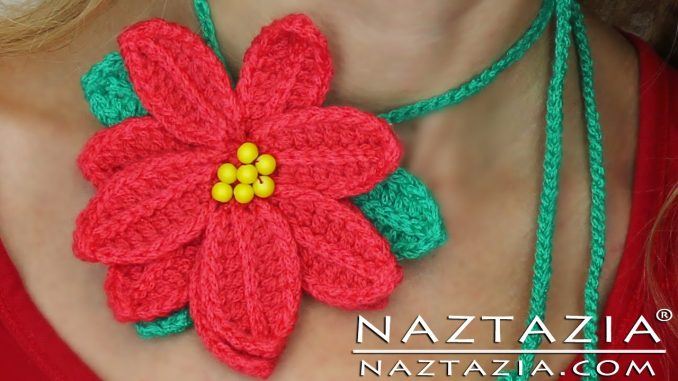 Poinsettia Christmas Flower Motif for Hats Scarves Bags and Pins