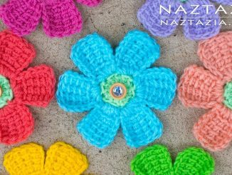 Crochet Simple Tunisian Flower and Flowers with Petals Made with Tunisian Crochet