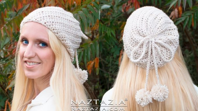 Crochet Soft Twist Hat with Pom Poms