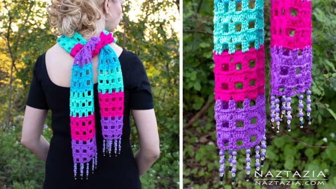 Crochet Summer Jewels Scarf with Beaded Fringe Border Edging