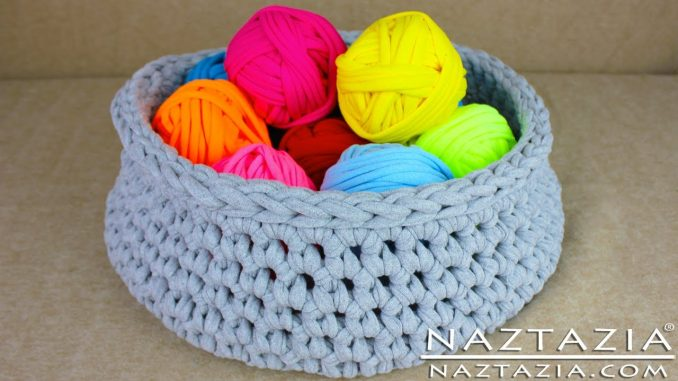 T-shirt Yarn Basket Made with T-shirts