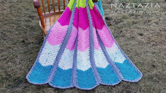 Crochet Waterfall Ripple Blanket and Afghan Made in Strips