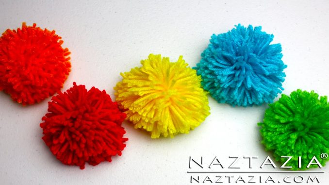 Yarn Pom Poms Made Several Ways With and Without a Pompom Maker