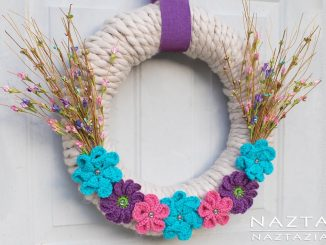 Yarn Wrapped Wreath with Crochet Flowers for Wall and Door Decor